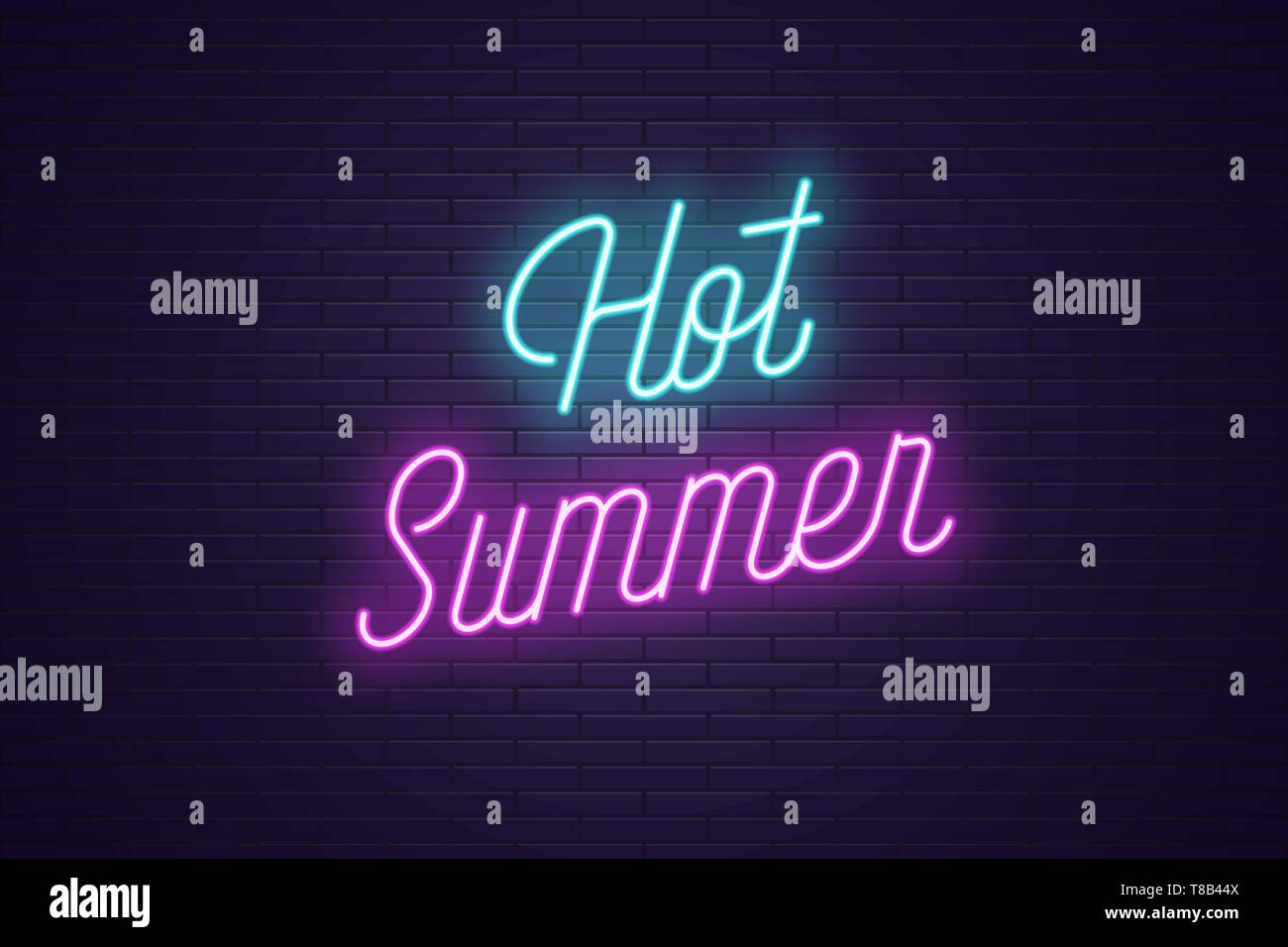 Neon lettering of Hot Summer. Glowing headline, bright neon cursive text of Hot Summer. Title template for web banner and poster. Blue and purple colo - Stock Vector