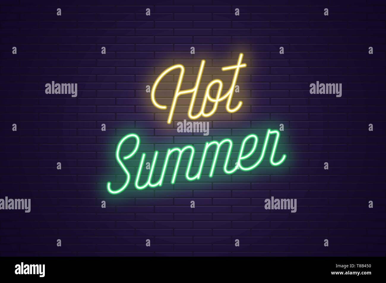 Neon lettering of Hot Summer. Glowing headline, bright neon cursive text of Hot Summer. Title template for web banner and poster. Yellow and green col - Stock Vector