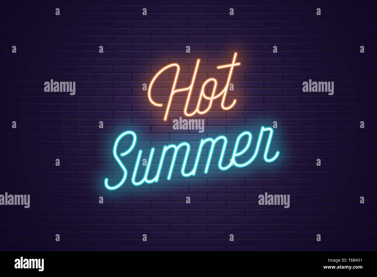 Neon lettering of Hot Summer. Glowing headline, bright neon cursive text of Hot Summer. Title template for web banner and poster. Orange and blue colo - Stock Vector
