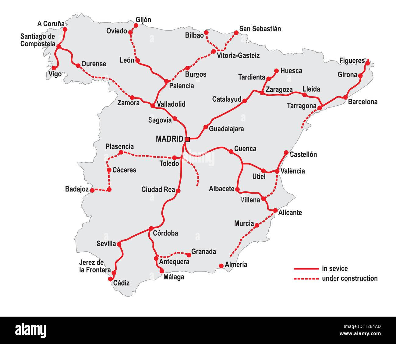 Map of the high speed railway lines in spain - Stock Image