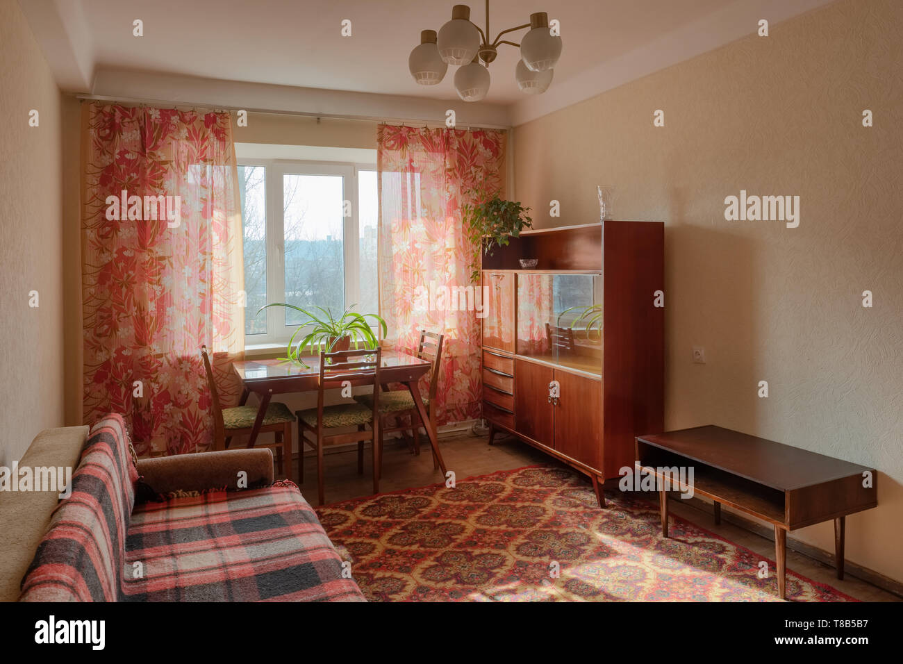 Interior of typical soviet style apartment.  Stock Photo
