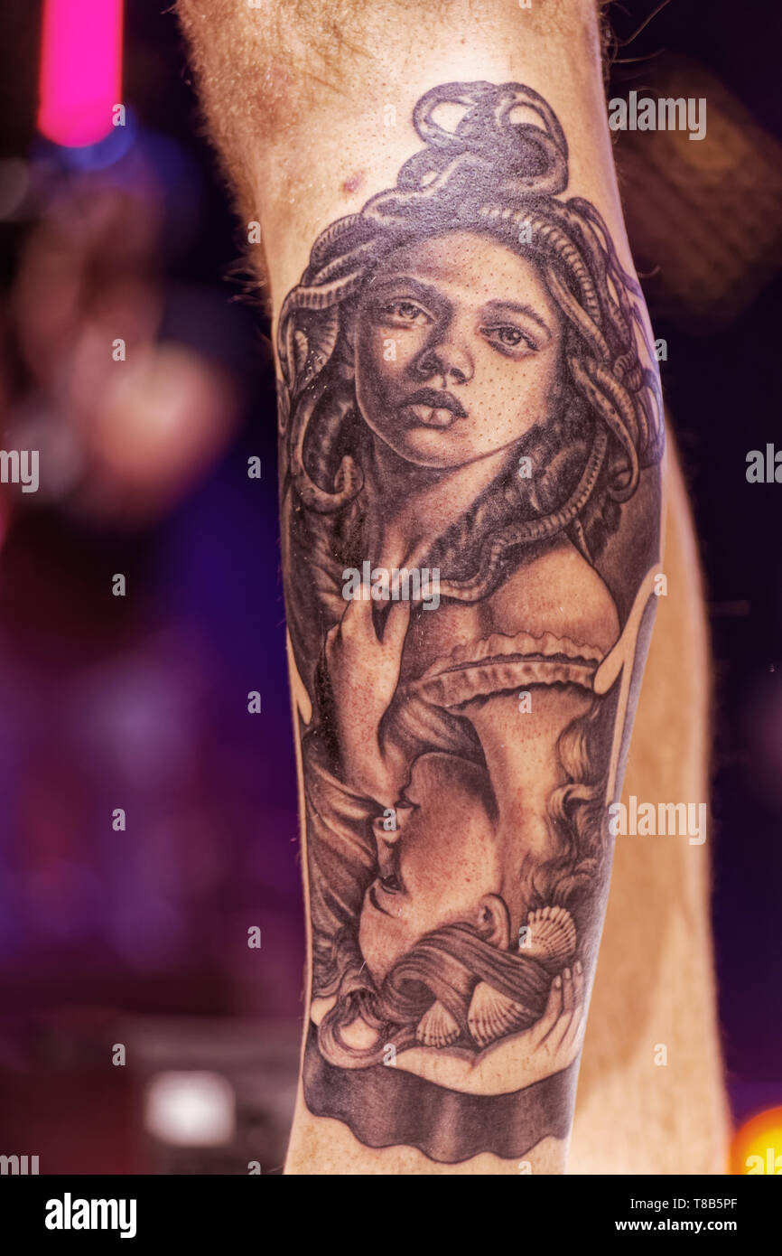 Paris,France.Feb 15,2019.The Tattoo Salon in Great Hall of the Villette on February 15, 2019 in Paris. Credit:Veronique Phitoussi/Alamy Stock Photo - Stock Image