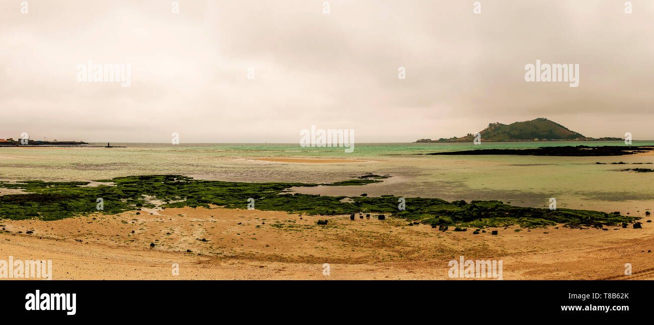 panorama landscape in the beach, Jeju, South Korea - Stock Image