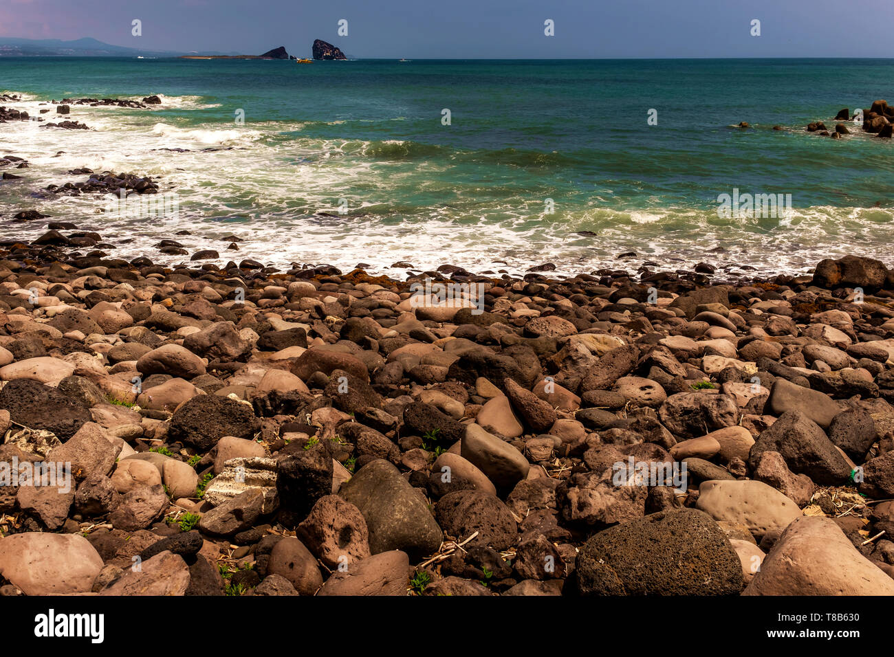 fragments of stons in the beach, Jeju, South Korea - Stock Image