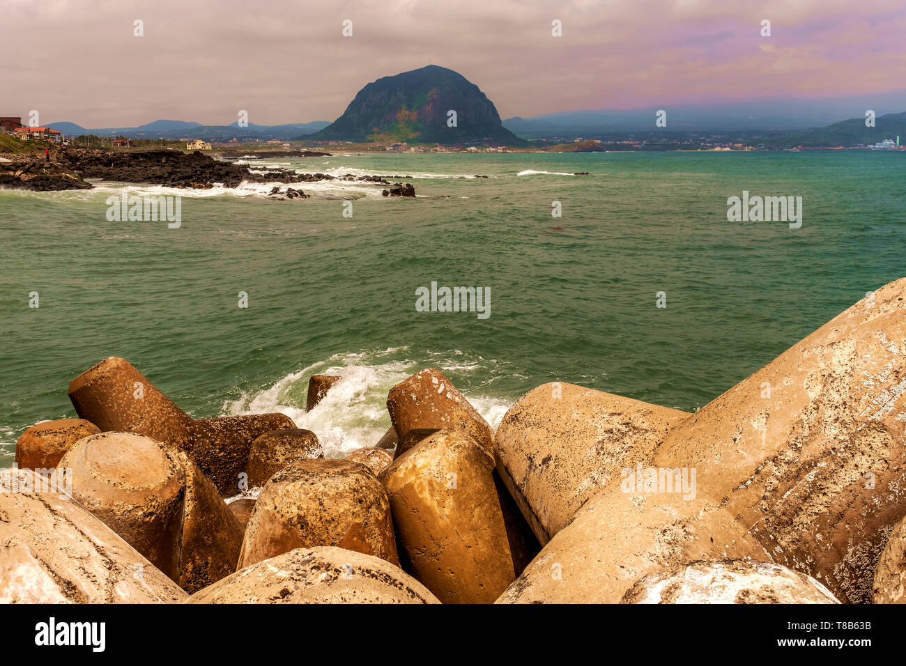pier in the beach, Jeju, South Korea - Stock Image