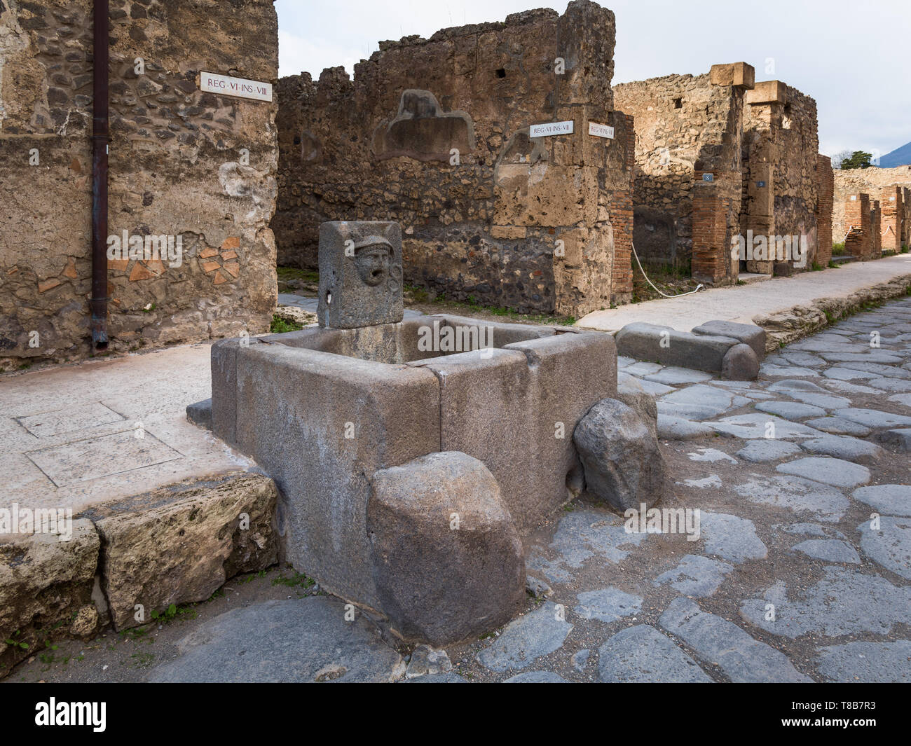 Public water fountain, streets of Pompeii, Italy - Stock Image