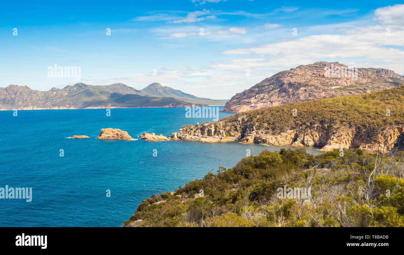The coastline seen from Cape Tourville Walk in Freycinet National Park in Tasmania, Australia. Stock Photo