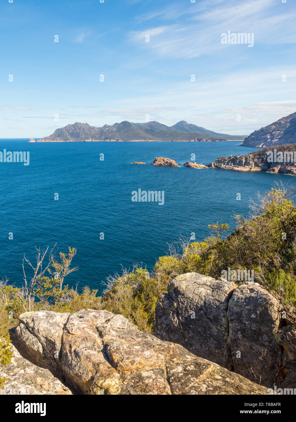 The coastline seen from Cape Tourville Walk in Freycinet National Park in Tasmania, Australia. Stock Photo