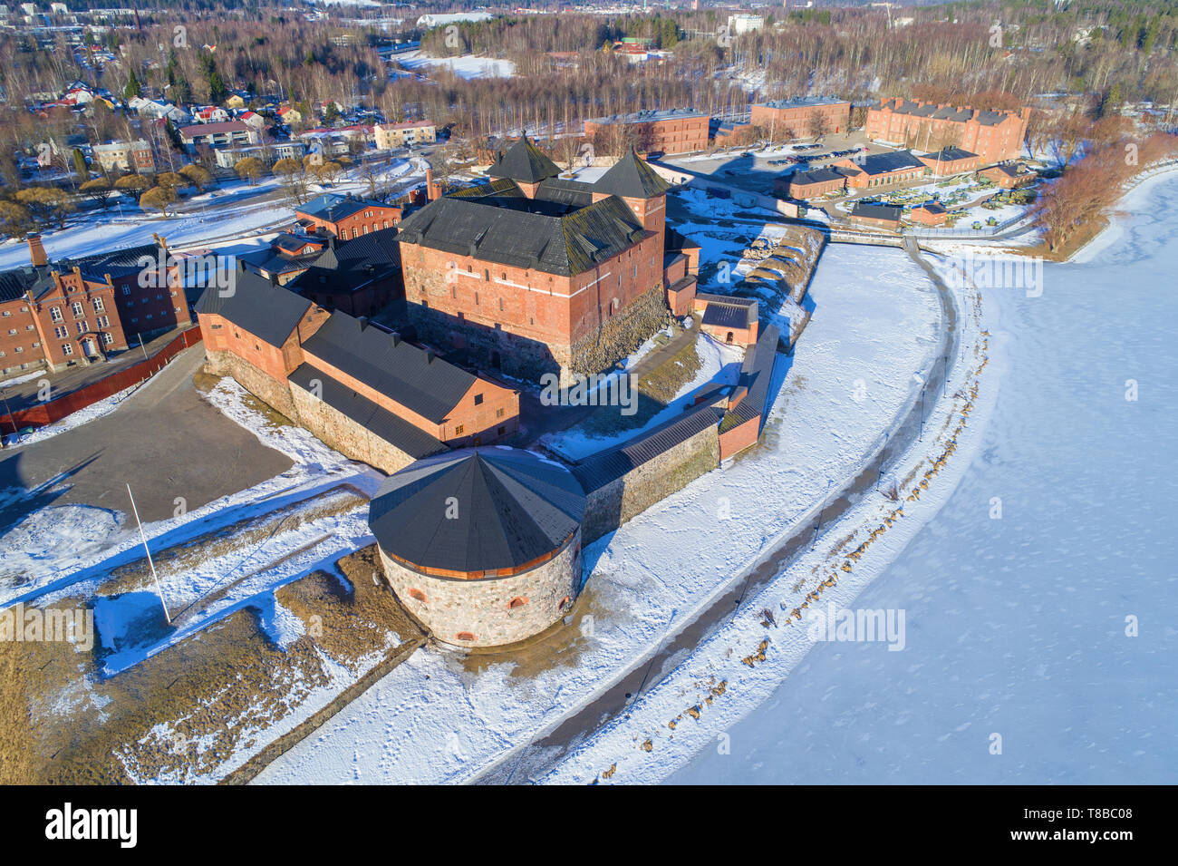 Ancient fortress prison of Hameenlinna close up in the sunny March afternoon. Top view, Finland Stock Photo