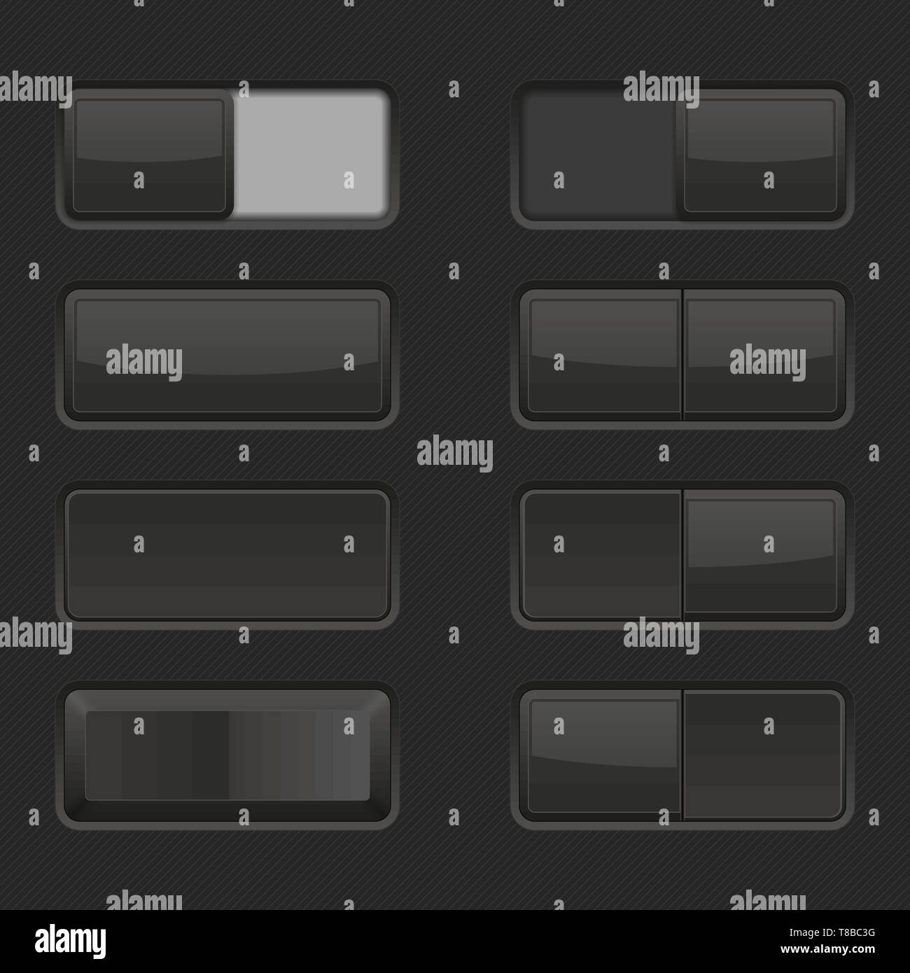 Toggle switch buttons and Push buttons. Black elements Stock Vector