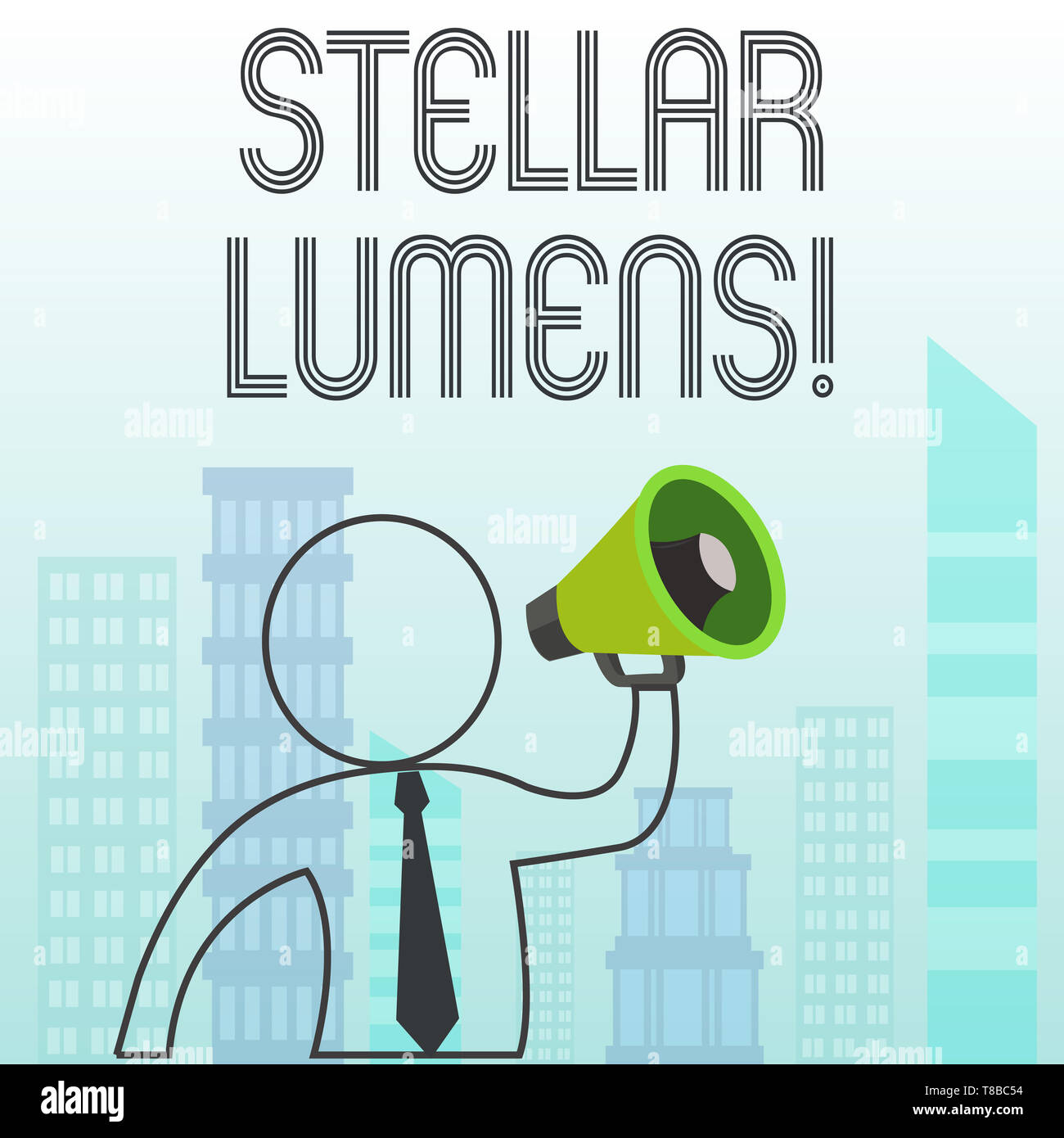 Text sign showing Stellar Lumens. Business photo text cryptocurrency platform that uses on remittance and payments - Stock Image