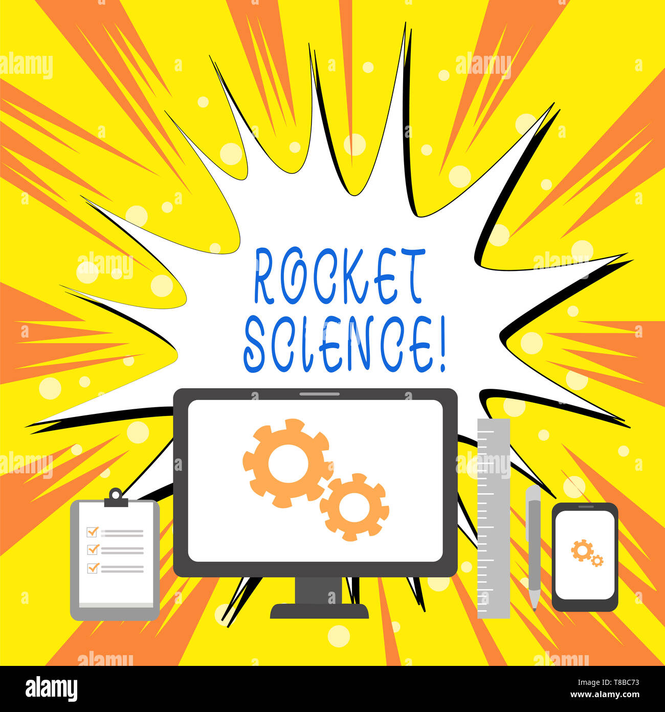 Text sign showing Rocket Science. Business photo showcasing difficult activity that you need to be intelligent to do - Stock Image
