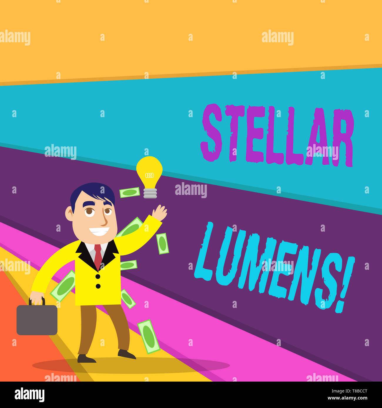 Handwriting text writing Stellar Lumens. Conceptual photo cryptocurrency platform that uses on remittance and payments - Stock Image