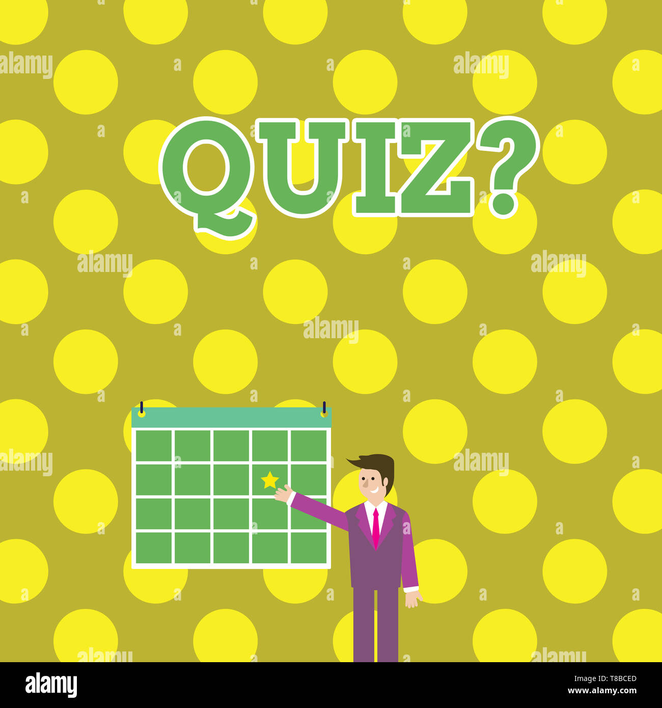 Writing note showing Quiz Question. Business concept for test of knowledge as competition between individuals or teams Businessman Smiling and Pointin - Stock Image