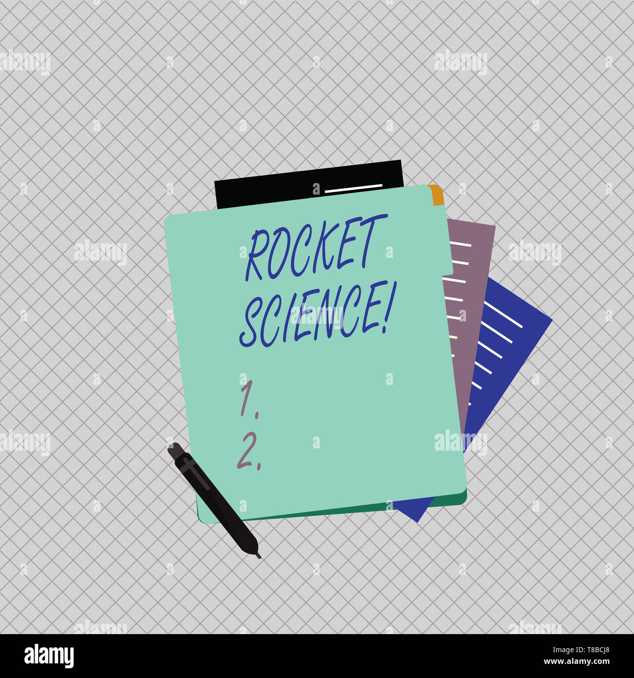 Conceptual hand writing showing Rocket Science. Concept meaning difficult activity that you need to be intelligent to do Lined Paper Stationery Partly - Stock Image