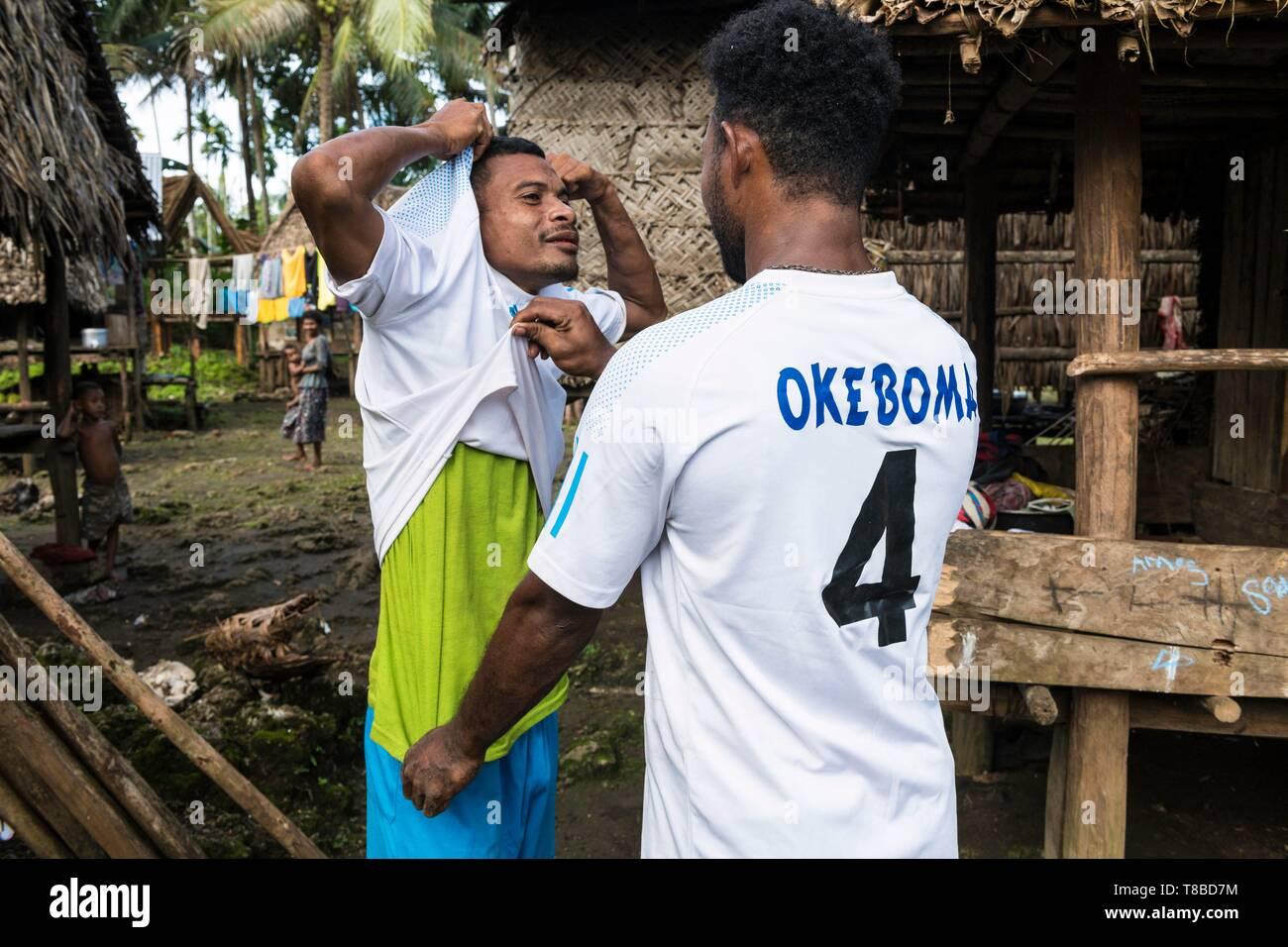 Papua New Guinea, Milne Bay Province, Encastreaux Sea, Trobriands Archipelago, Kiriwina Island, Okaiboma Village, soccer team - Stock Image