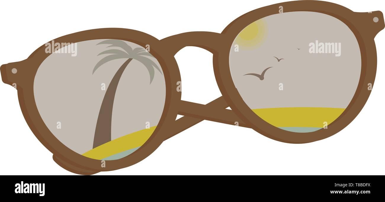 vector sun glasses with tropical beach reflection Stock Vector