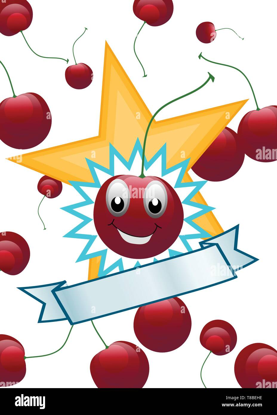 Smiling Cherry with Copy-space. Appropriate for educational and food industries - Stock Vector