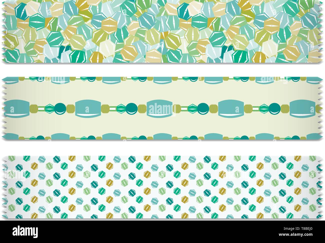 3 Bead Designs - Washi Tape Green and Yellow Color Palette - Stock Vector