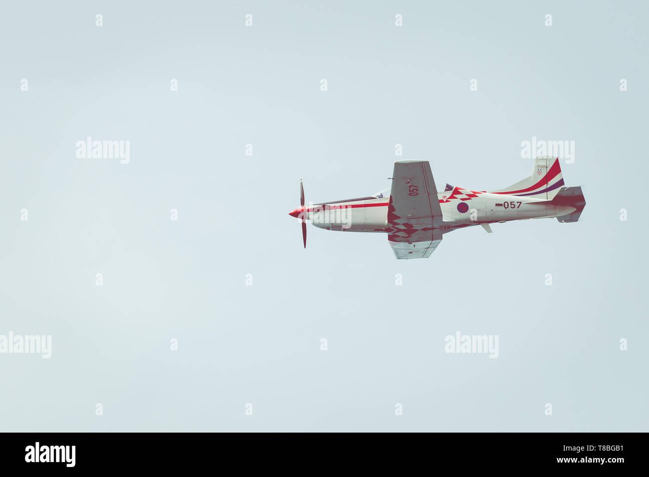 ZADAR,CROATIA - APRIL 26, 2019: The Wings of Storm aerobatic display team. Stock Photo
