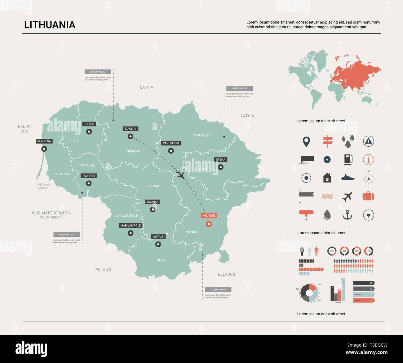 Image of: Vector Map Of Lithuania High Detailed Country Map With Division Cities And Capital Vilnius Political Map World Map Infographic Elements Stock Vector Image Art Alamy