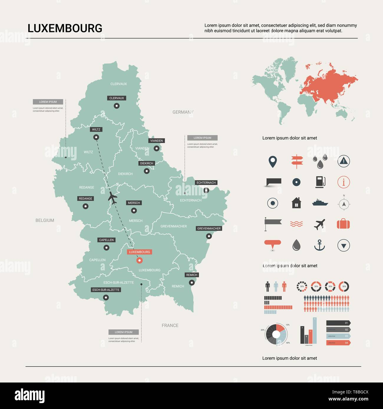 Vector map of Luxembourg. Country map with division, cities and ...