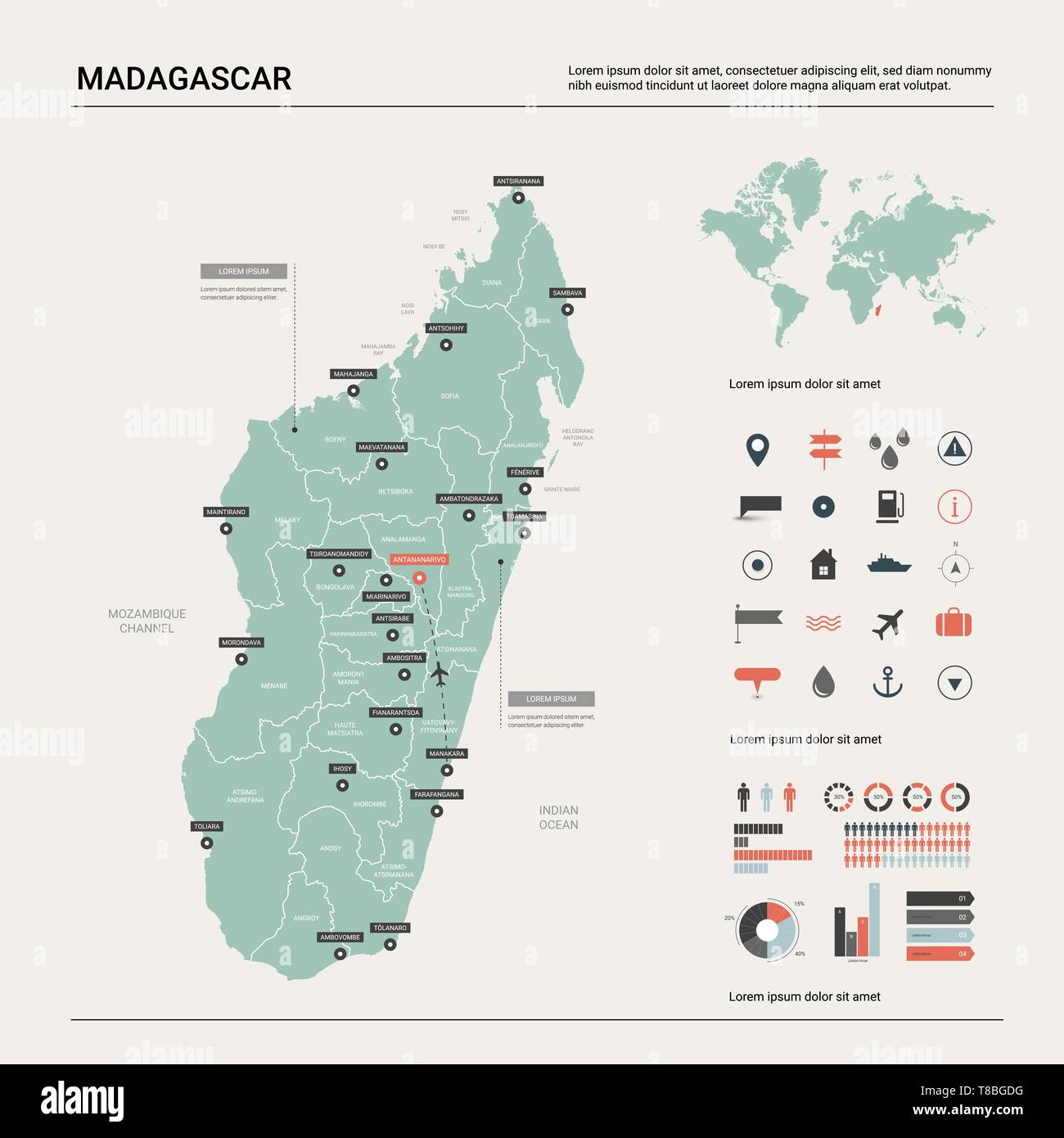 Vector map of Madagascar. Country map with division, cities ...