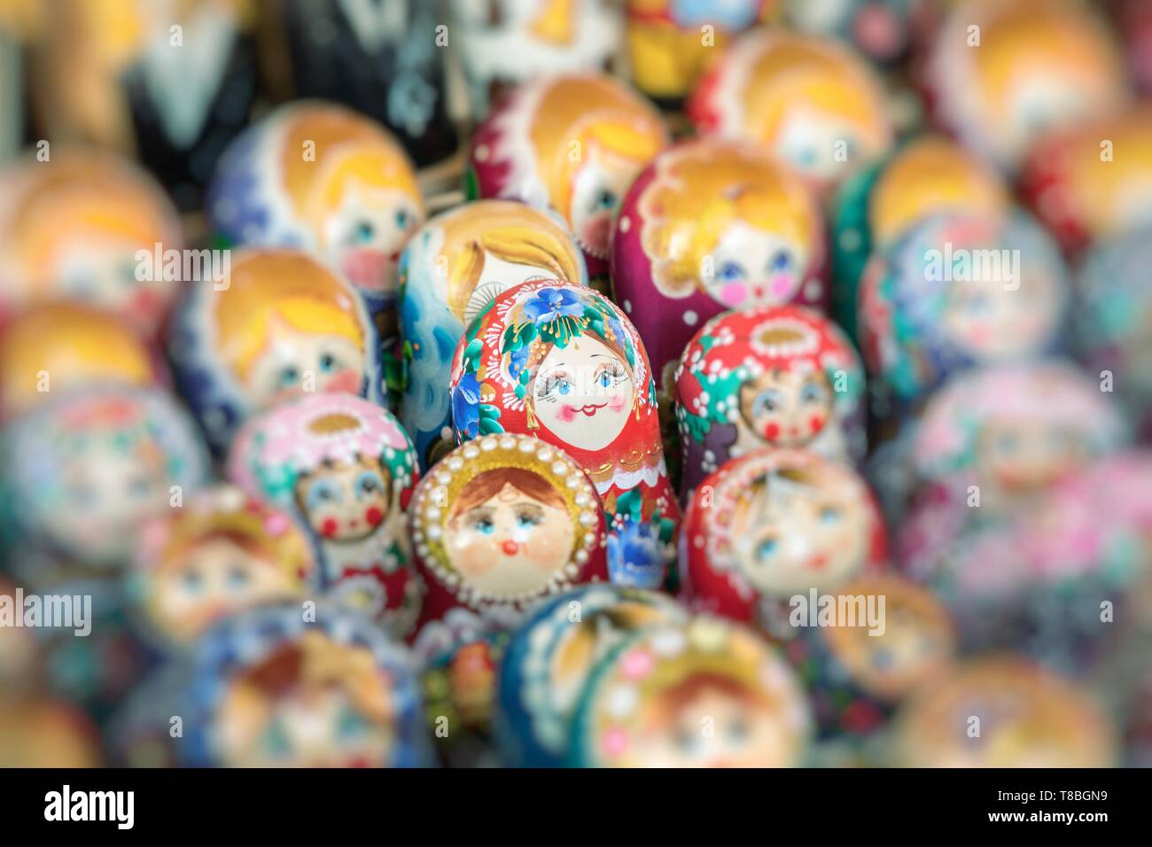 Nested dolls in the souvenir from Ukraine. Selective Focus. - Stock Image