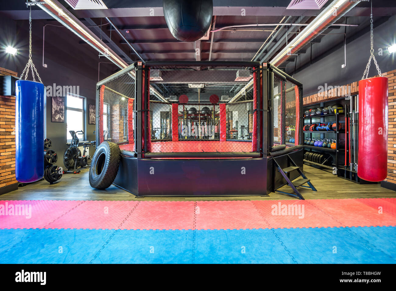 GRODNO, BELARUS - APRIL 2019: Hall of martial arts with fighting ring and punching bags in the modern Fight club - Stock Image