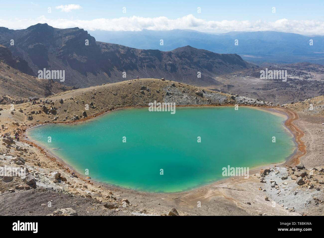 New Zealand, North Island, Waikato region, Tongariro National Park, 1967 m, labelled Unesco World Heritage Site, Tongariro Alpine crossing, Emerald lake - Stock Image