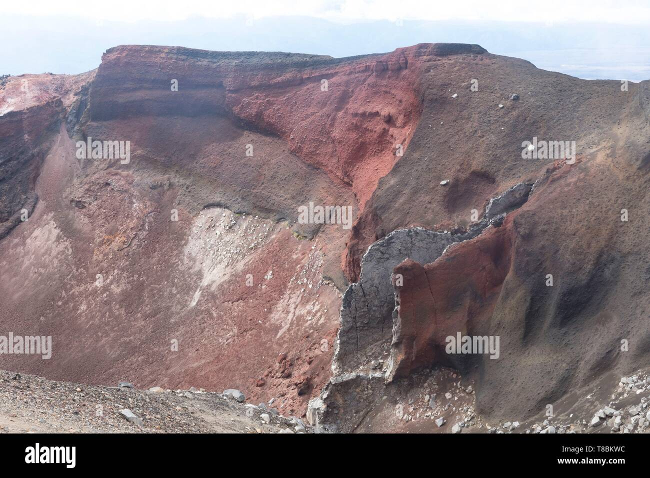 New Zealand, North Island, Waikato region, Tongariro National Park, 1967 m, labelled Unesco World Heritage Site, Tongariro Alpine crossing, Tongariro volcano crater - Stock Image