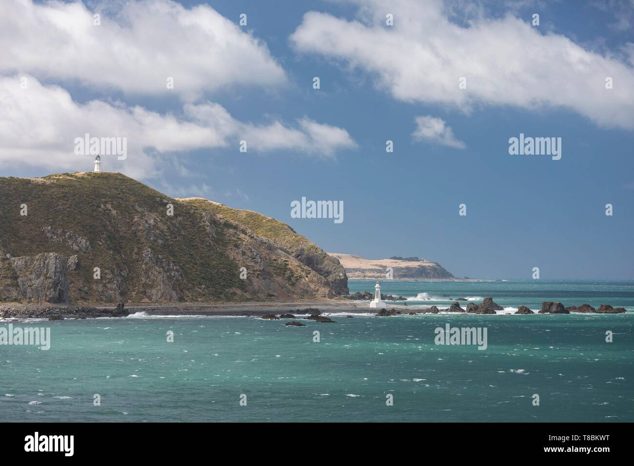 New Zealand, Cook strait between North Island and South Island, Pencarrow Head, at the entrance to Wellington Bay - Stock Image