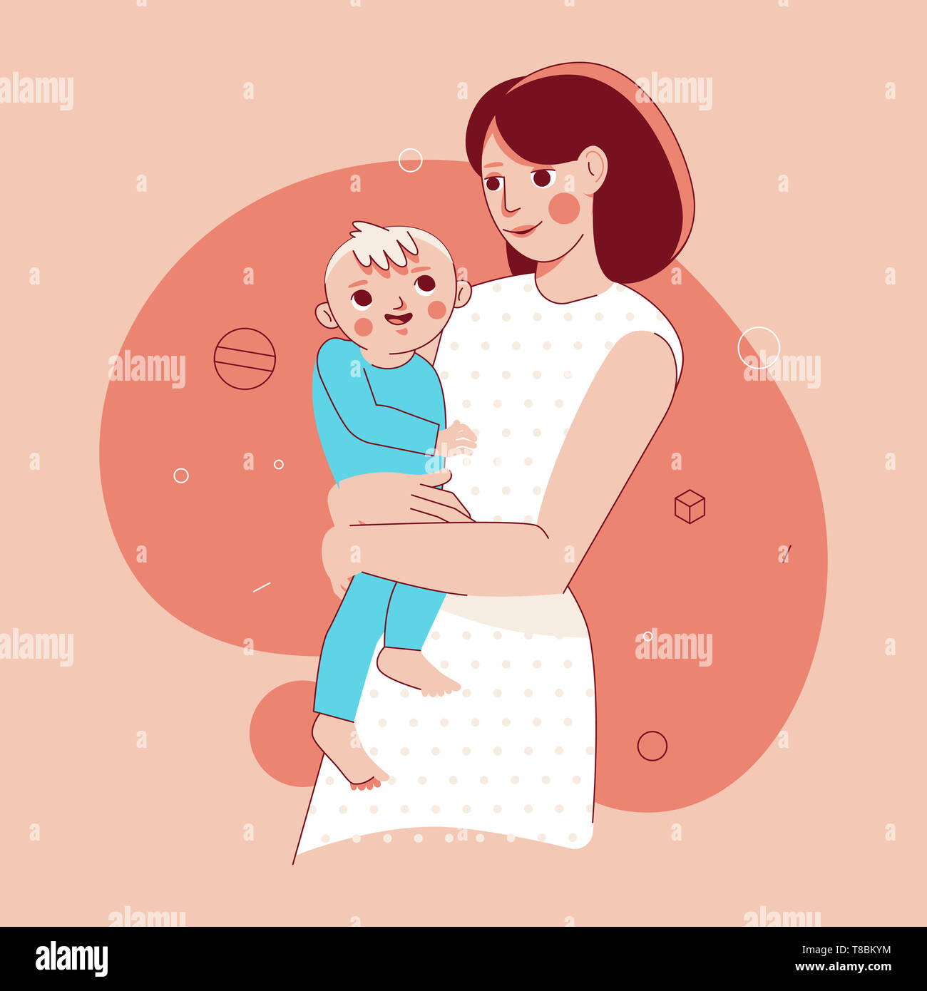 Vector illustration in trendy flat linear style - happy mother and child  - cartoon characters for infographics, banners, cover and hero images - Stock Image