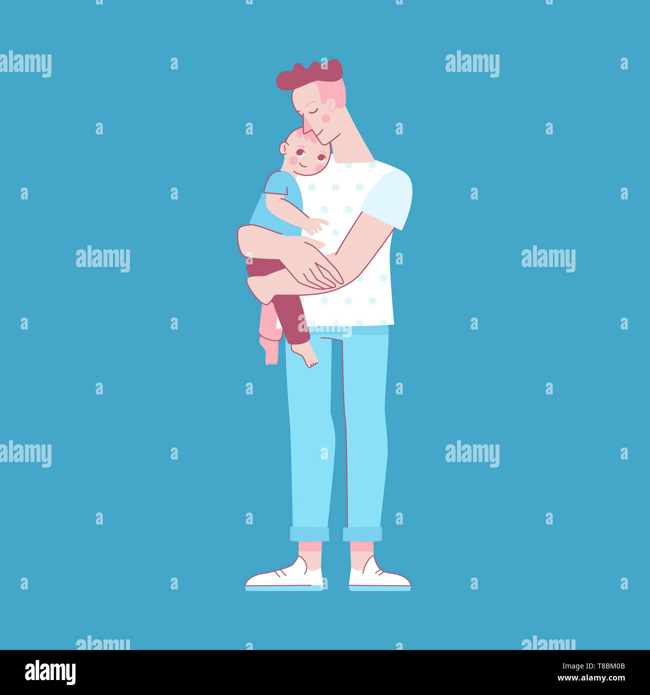 Vector illustration in trendy flat linear style - happy father and child  - cartoon characters for infographics, banners, cover and hero images - Stock Image