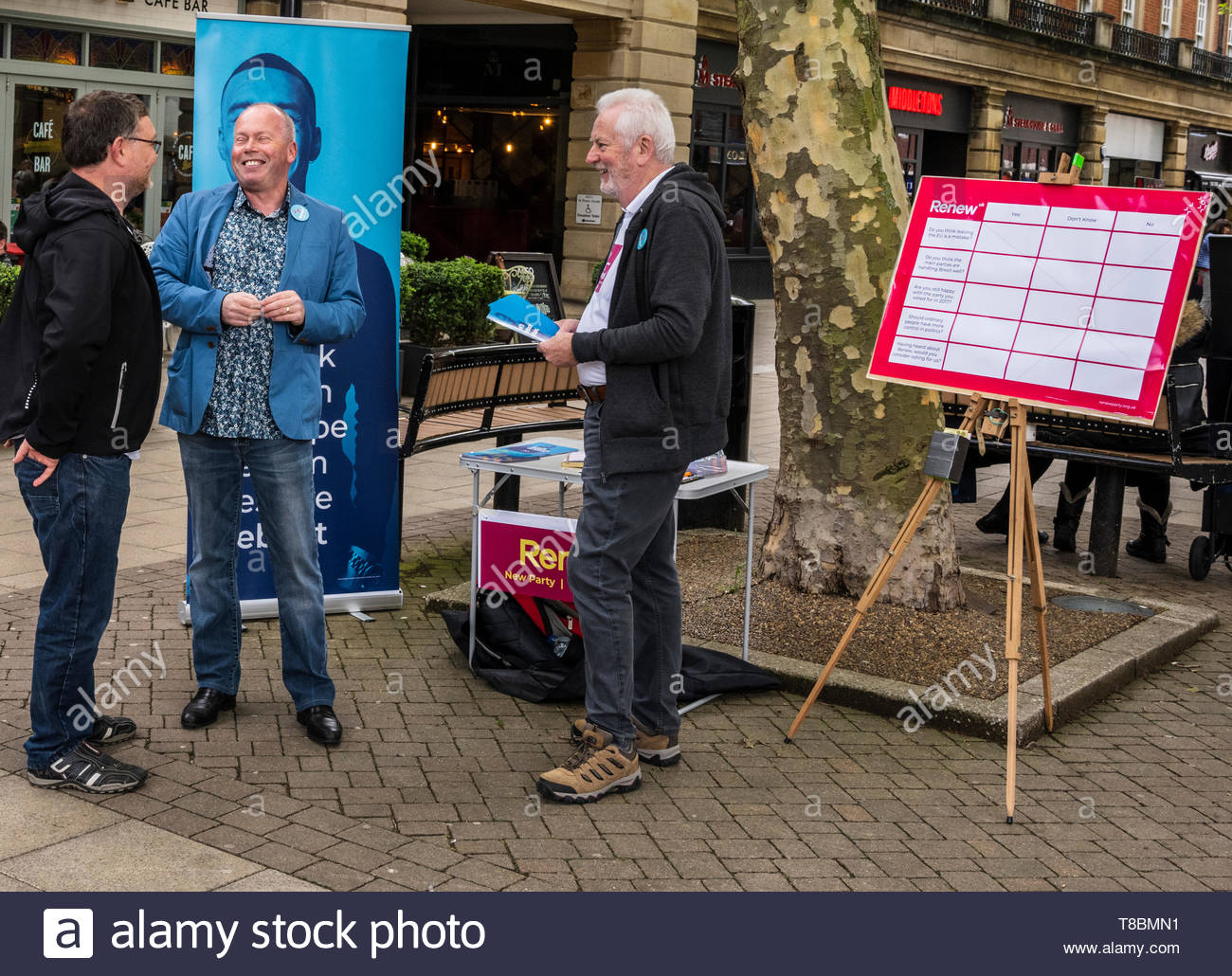 The Renew Party campaigning for the Peterborough by-election and the European Parliament elections in Peterborough on Saturday May 11th. 2019 - Stock Image