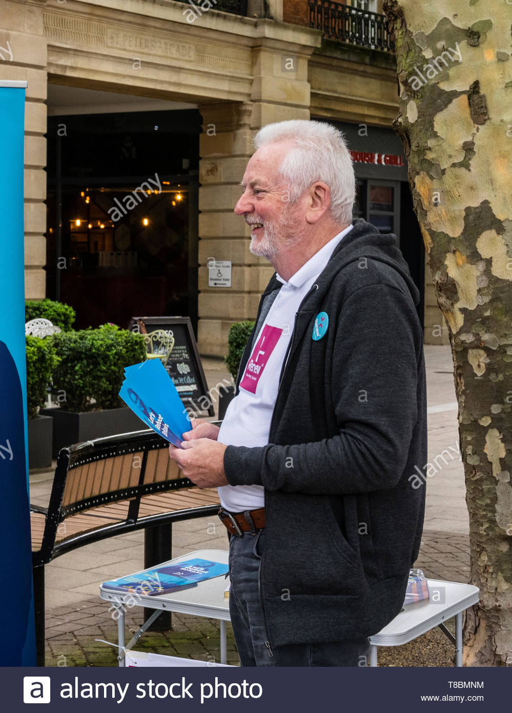 Jim Adcock, candidate for the Renew Party in the upcoming European Parliament elections campaigning in Peterborough on Saturday May 11th. 2019 - Stock Image