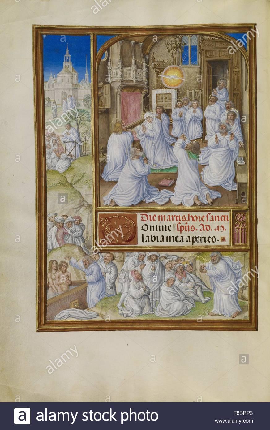 Master of James IV of Scotland, illuminator (Flemish, before 1465 - about 1541)-Pentecost - Stock Image