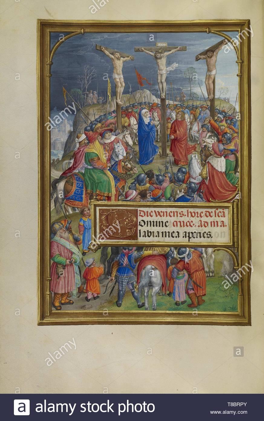 Master of James IV of Scotland, illuminator (Flemish, before 1465 - about 1541)-The Crucifixion - Stock Image