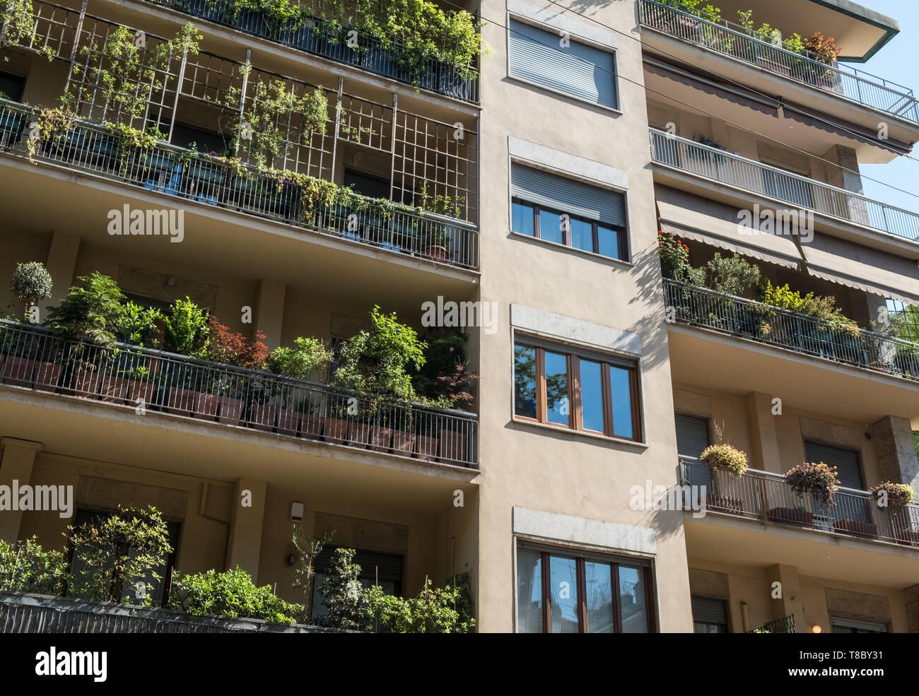 Apartment block building with potted plants growing on garden balconies, Milan, Italy. - Stock Image