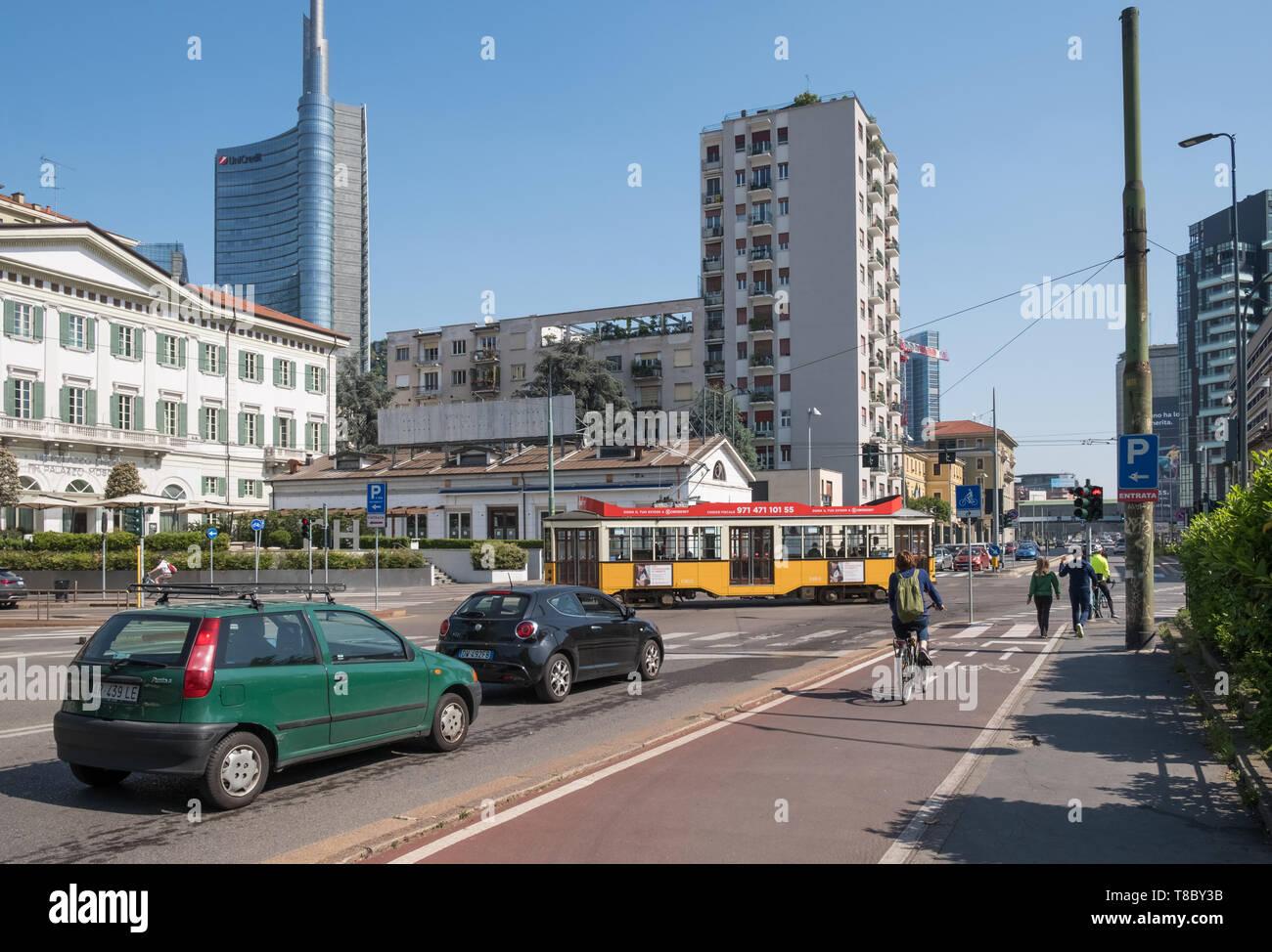 Street scene, Porta Nuova district, Milan, Italy Stock Photo