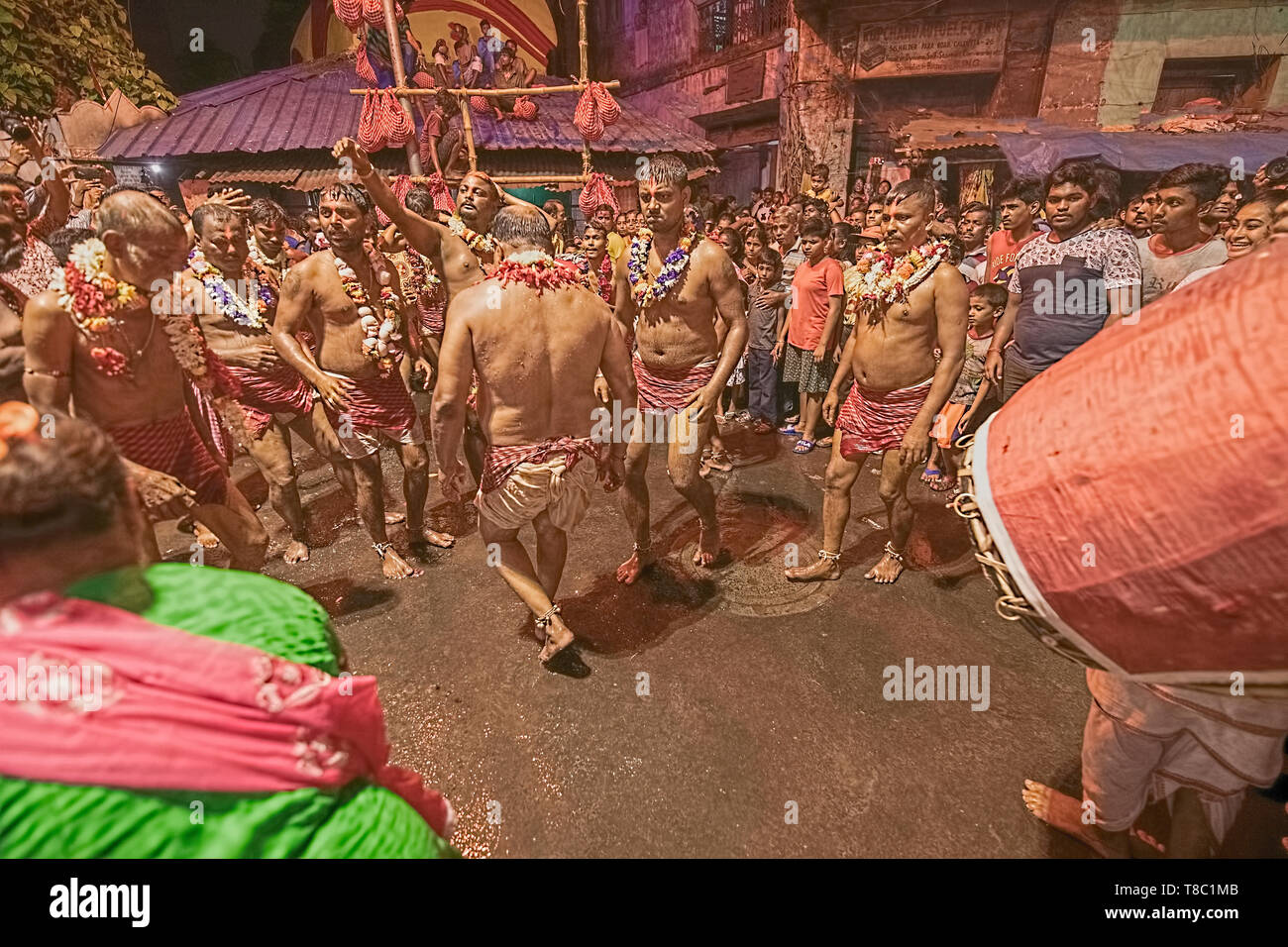 God,Lord,Shiva,male ,mendicants,strating ,year end,bare body,garlanded,dance - Stock Image