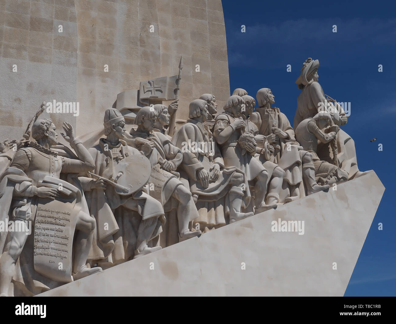 monument to the discoveries named Padrao dos Descobrimentos in Lisbon near Belem - Stock Image