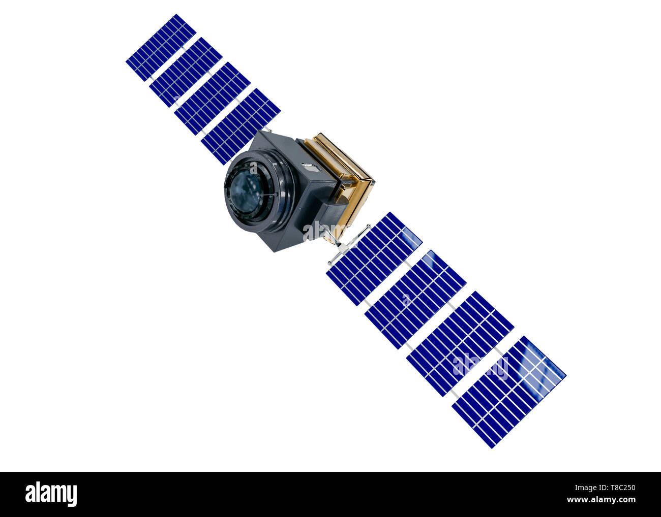 artificial satellite concept 3D rendering isolated on white - Stock Image
