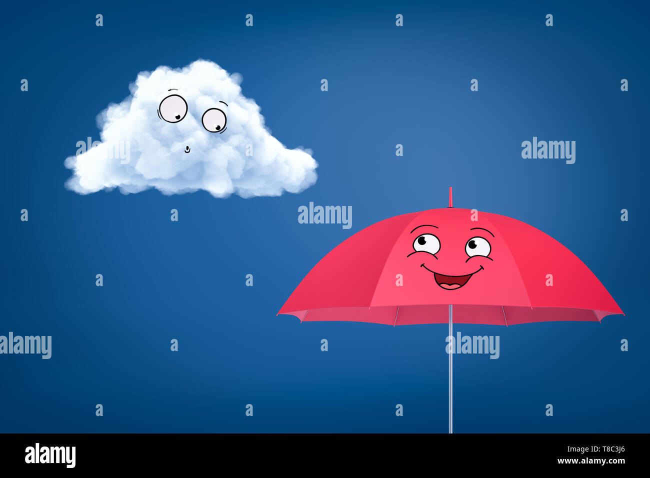 3d Rendering Of White Cartoon Smiley Cloud And Happy Pink Cartoon