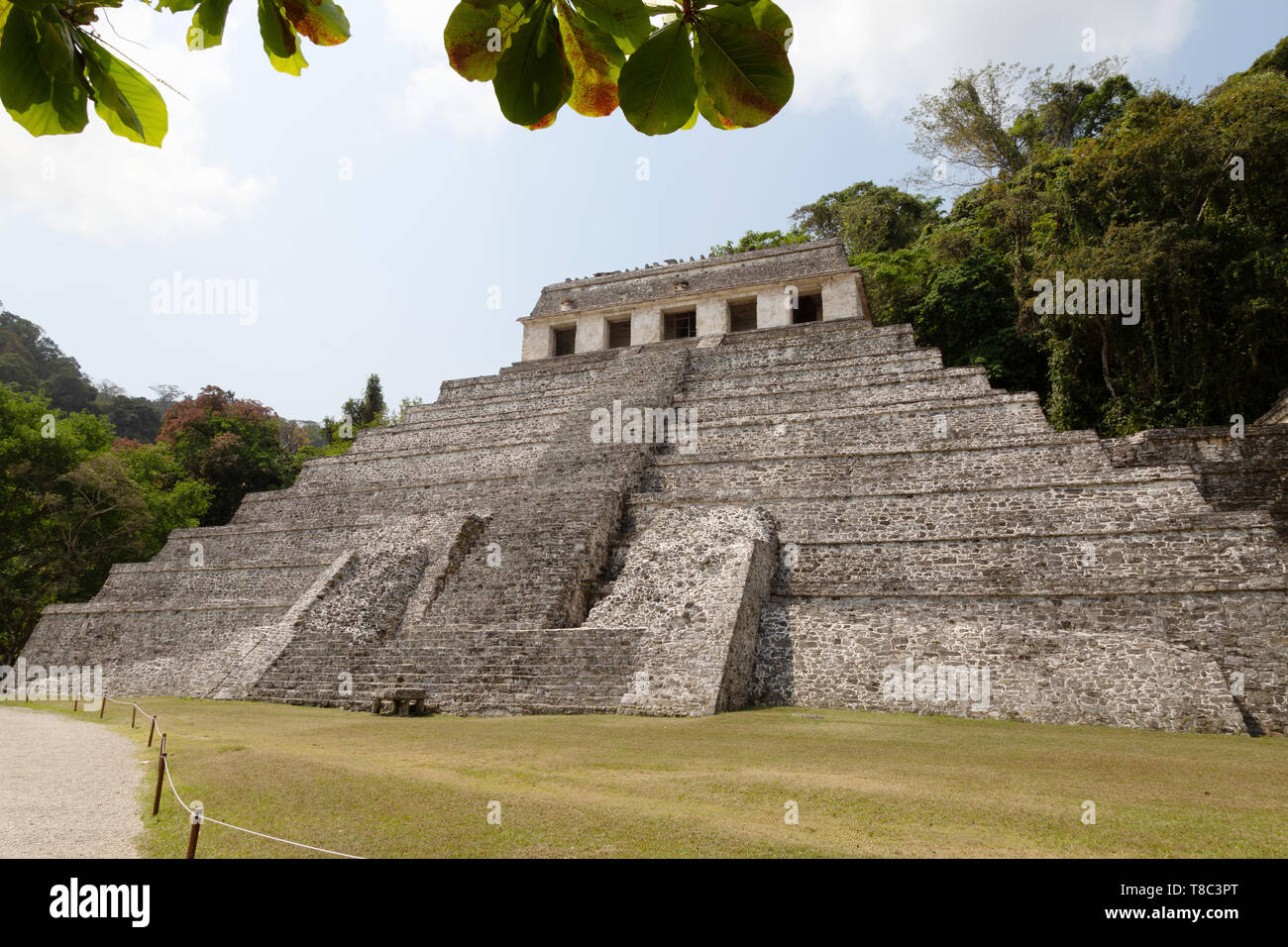 Palenque Mexico - Temple of the Inscriptions, Maya ruined temple, UNESCO world heritage site, Palenque Mexico Latin America - Stock Image