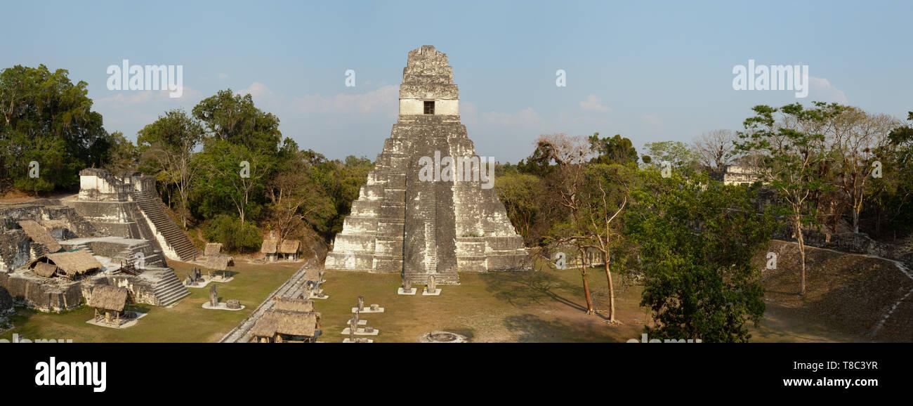Tikal Guatemala - mayan ruins including the maya Temple 1, ancient mayan UNESCO world heritage site panorama, Tikal, Guatemala Central America travel Stock Photo