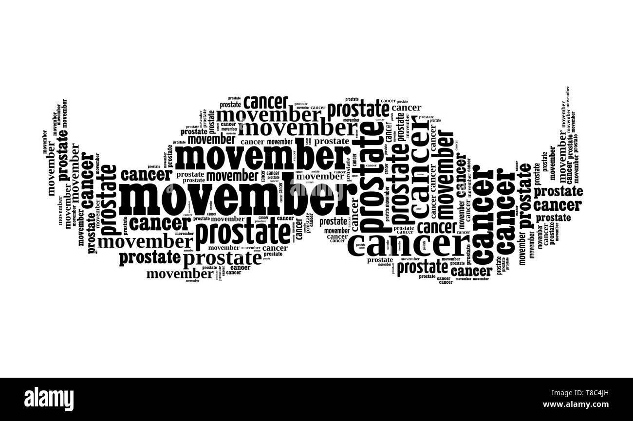 Moustaches shaped word cloud made of names for moustaches styles. Movember support for men health awareness in November. - Stock Image