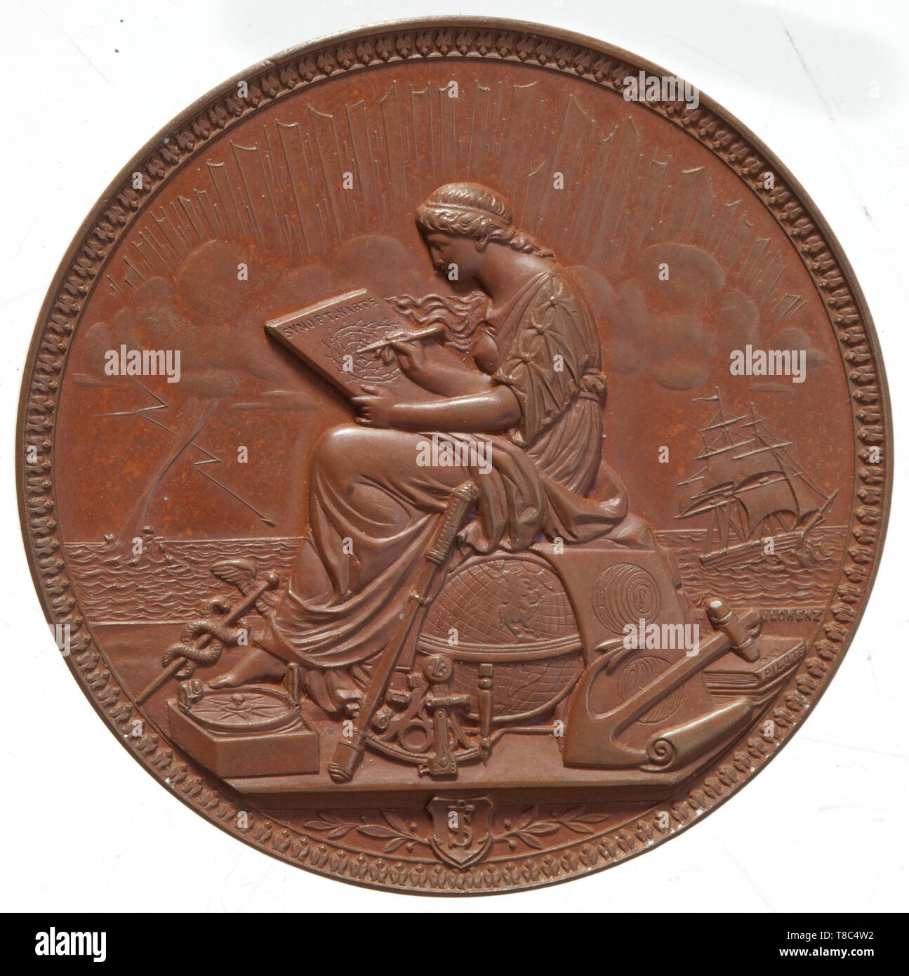A bronze medal German hydrographic office and certificate For Captain Dietrich H. Brummer. Awarded on 1 December 1909. Bronze medal, diameter 5.7 cm with a depiction of the office and surrounding inscription (tr) 'From the German hydrographic office to its staff at sea. Donated on the day of its opening in Sept. 1881', artist's signature 'J. Lorenz, F. Hamburg'. Back with an image of (tr) 'At Sea'. In corresponding case. Including certificate, framed ca. 55 x 48 cm. The certificate 'Imperial Navy - German hydrographic office' with the director's , Additional-Rights-Clearance-Info-Not-Available - Stock Image
