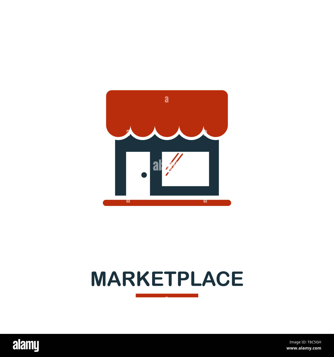 Marketplace icon in two colors. Creative black and red design from e-commerce icons collection. Pixel perfect simple marketplace icon for web design,  Stock Photo