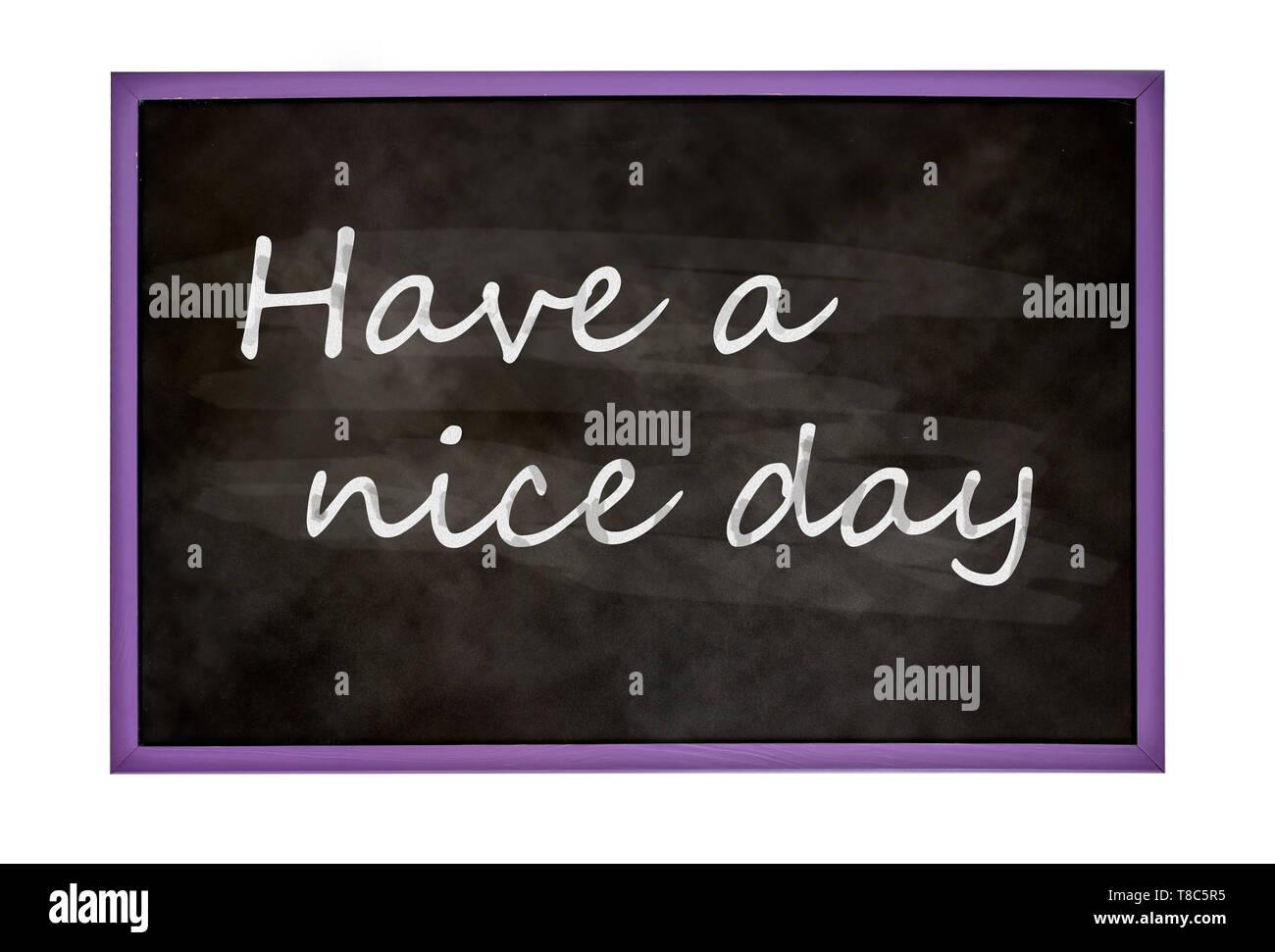 Have a nice day text on blackboard ilustration - Stock Image